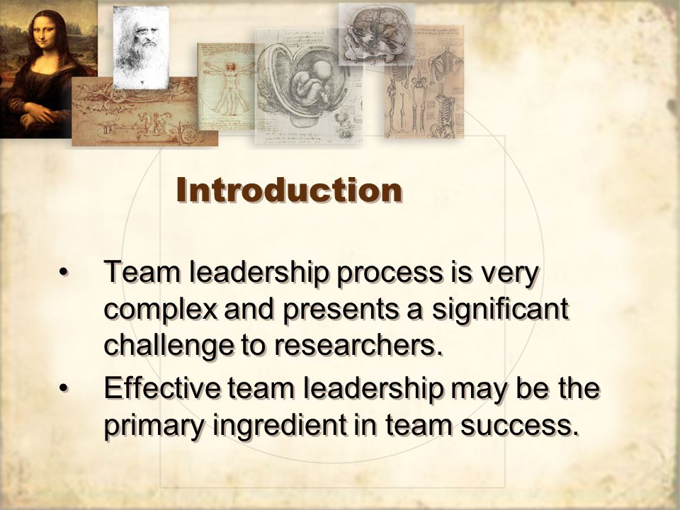 Introduction Team leadership process is very complex and presents a significant challenge to researchers.
