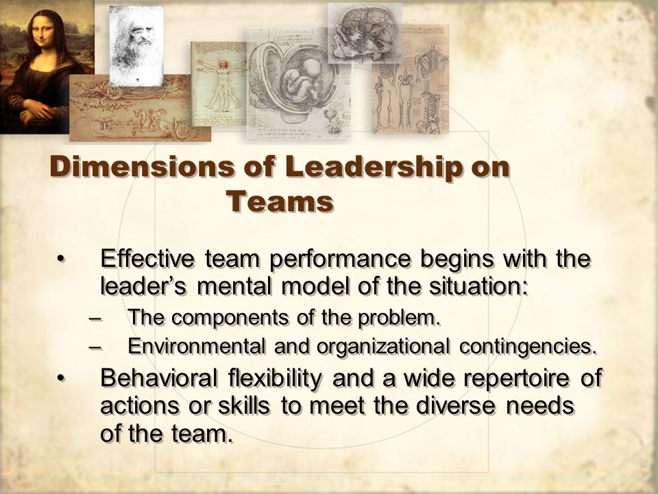 Dimensions of Leadership on Teams Effective team performance begins with the leader's mental model of the situation: –The components of the problem.
