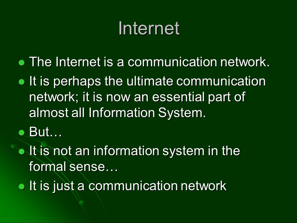 Internet Hardware Network Hardware Network routers routers cables cables Ethernet cards Ethernet cards Network is built on two key concepts Network is built on two key concepts Packet Switching Packet Switching TCP/IP Protocol TCP/IP Protocol We'll study these in more detail We'll study these in more detail
