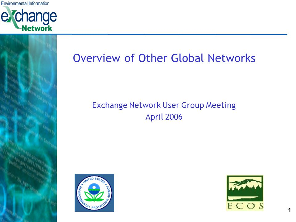 1 Overview of Other Global Networks Exchange Network User Group Meeting April 2006