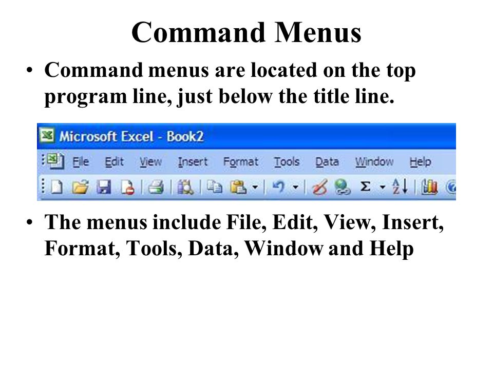 Command Menus Command menus are located on the top program line, just below the title line.