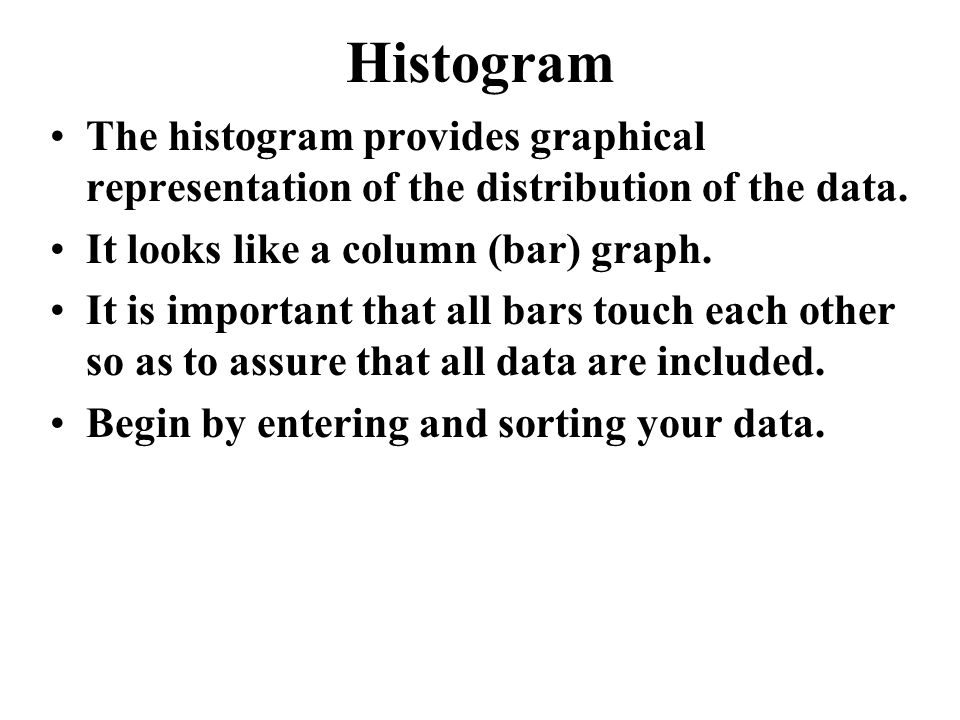 Histogram The histogram provides graphical representation of the distribution of the data.