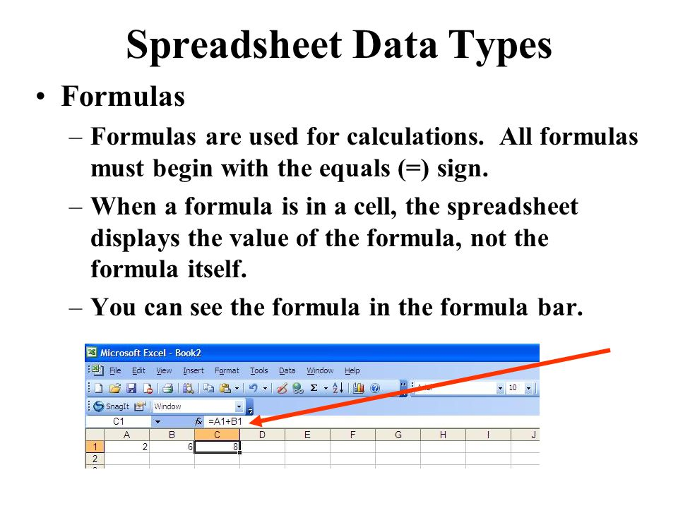 Spreadsheet Data Types Formulas –Formulas are used for calculations.