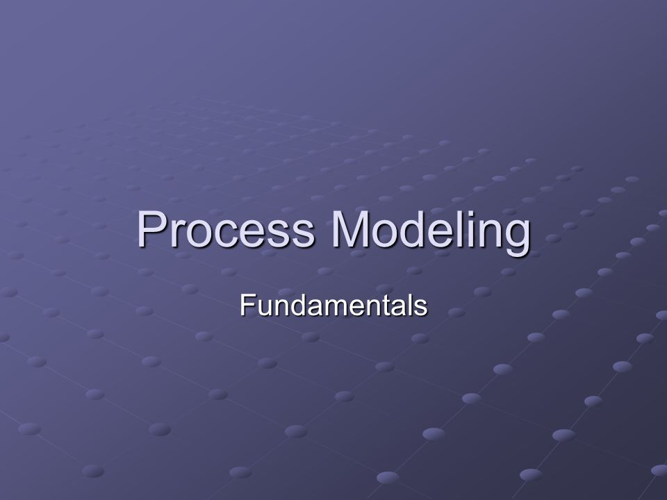 Process Modeling Fundamentals