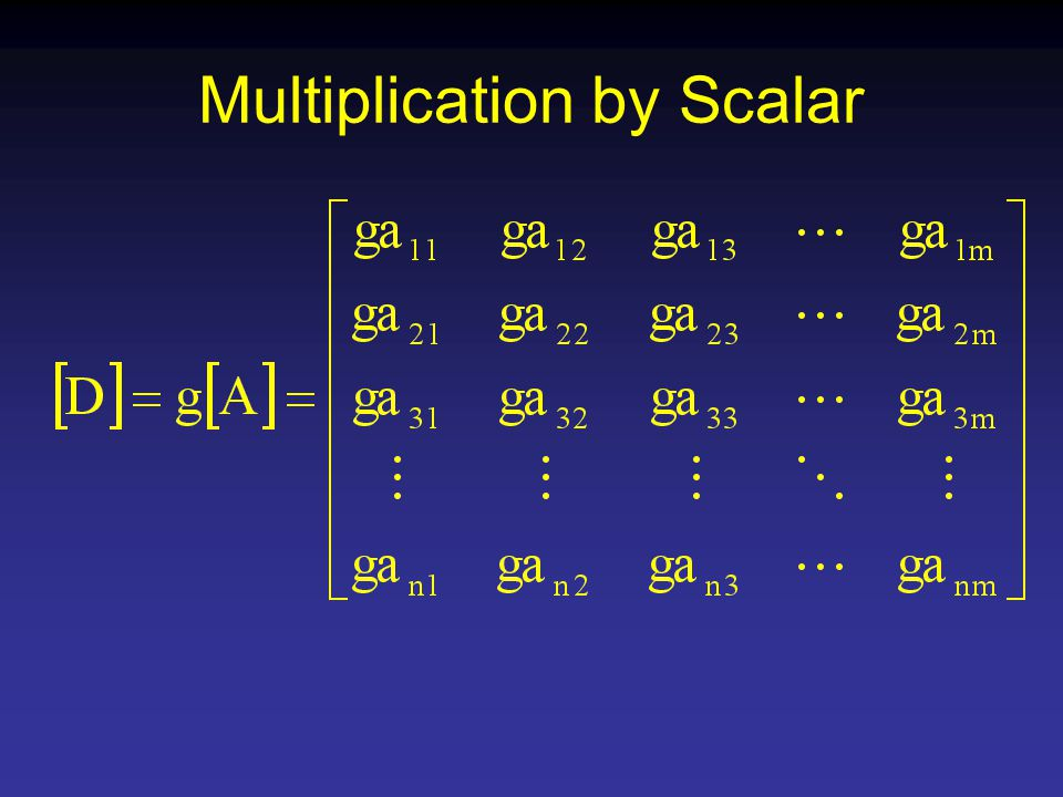 Multiplication by Scalar