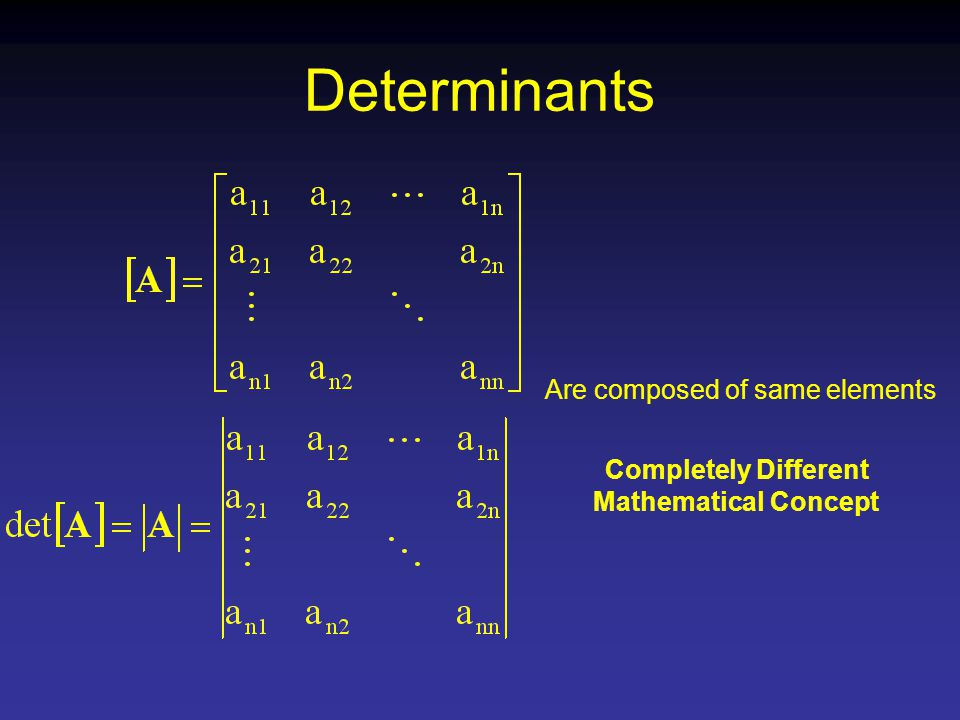 Determinants Are composed of same elements Completely Different Mathematical Concept
