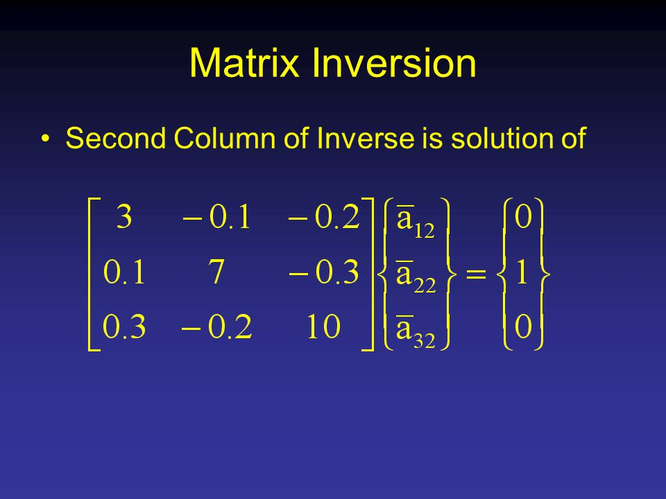 Matrix Inversion Second Column of Inverse is solution of