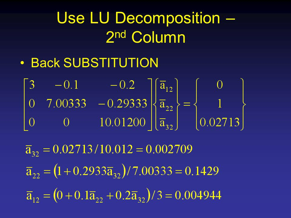 Use LU Decomposition – 2 nd Column Back SUBSTITUTION