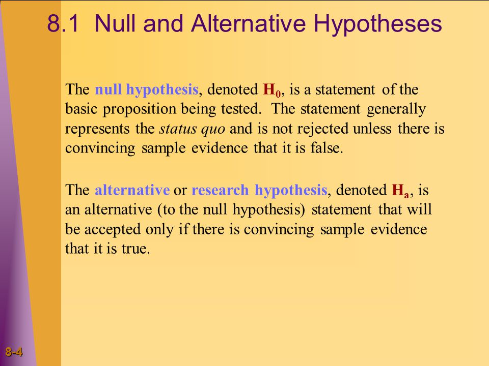 Null and Alternative Hypotheses The null hypothesis, denoted H 0, is a statement of the basic proposition being tested.