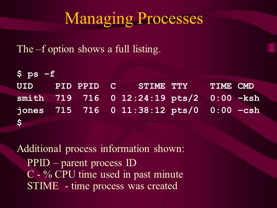 Managing Processes The –f option shows a full listing.