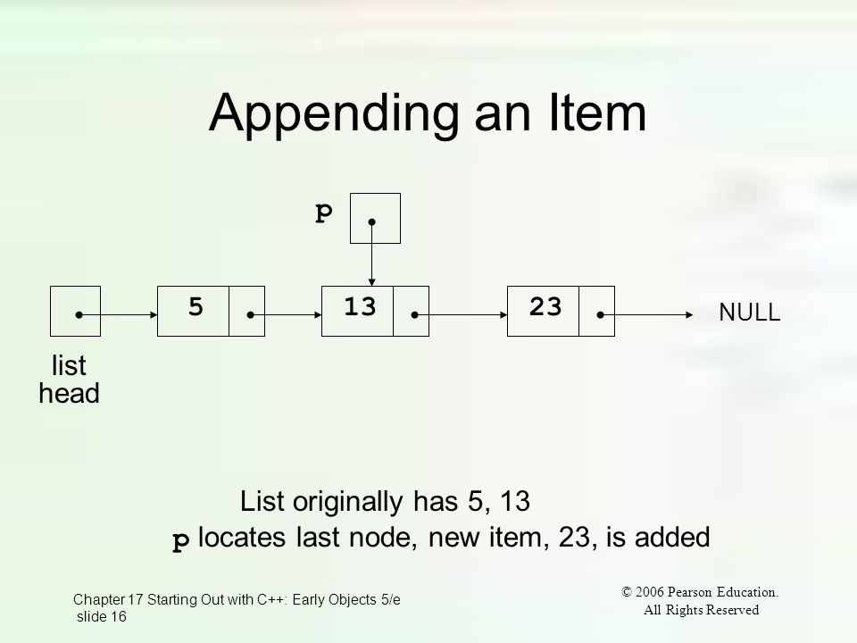 Chapter 17 Starting Out with C++: Early Objects 5/e slide 16 © 2006 Pearson Education.