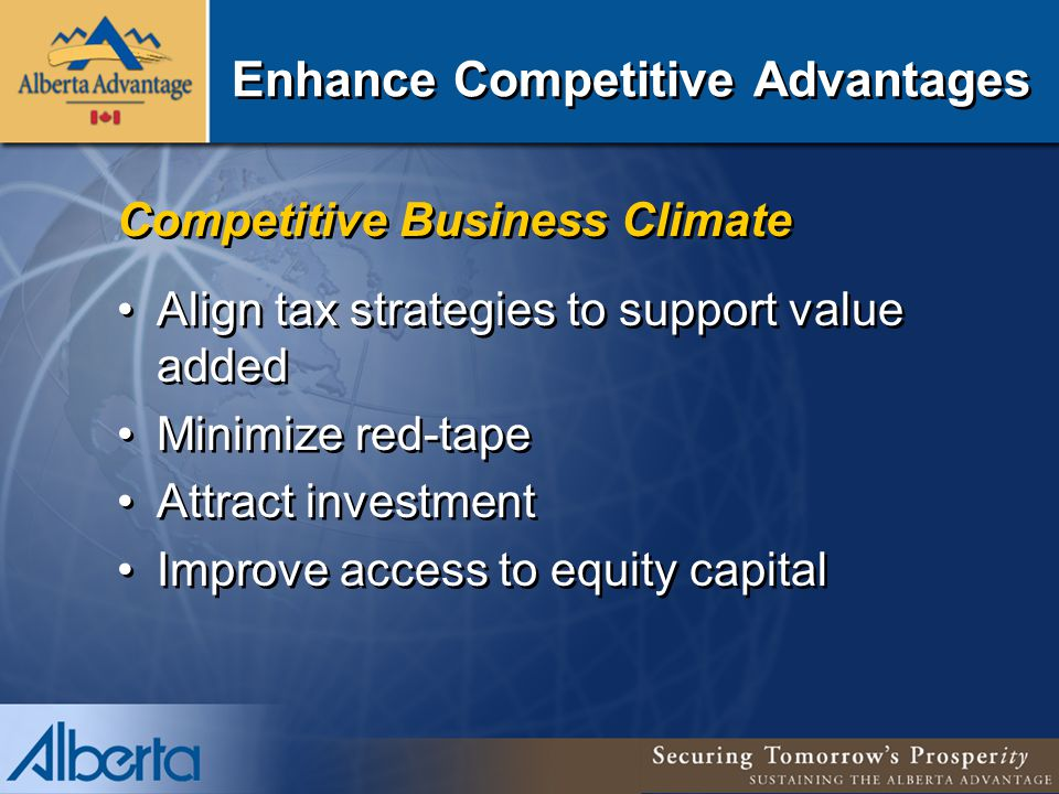 Enhance Competitive Advantages Competitive Business Climate Align tax strategies to support value added Minimize red-tape Attract investment Improve access to equity capital Competitive Business Climate Align tax strategies to support value added Minimize red-tape Attract investment Improve access to equity capital