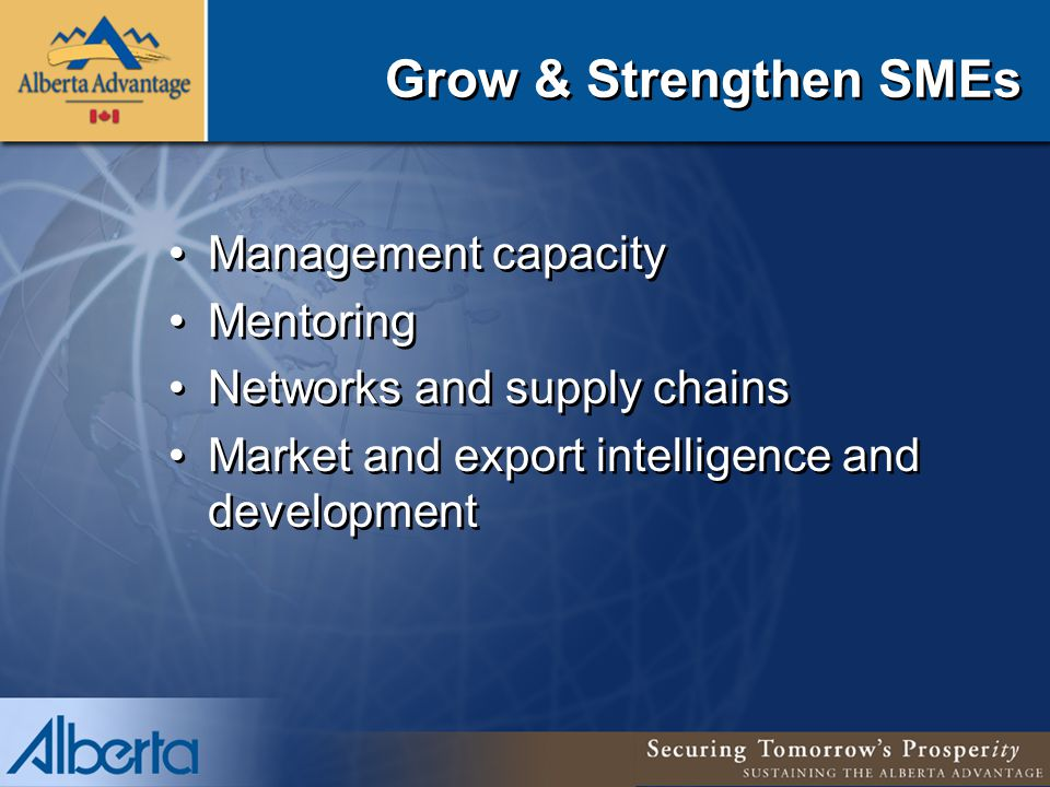 Grow & Strengthen SMEs Management capacity Mentoring Networks and supply chains Market and export intelligence and development Management capacity Mentoring Networks and supply chains Market and export intelligence and development