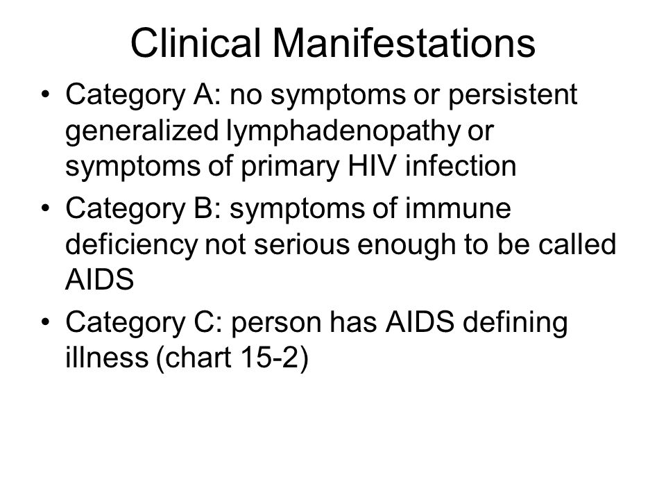 Clinical Manifestations Category A: no symptoms or persistent generalized lymphadenopathy or symptoms of primary HIV infection Category B: symptoms of immune deficiency not serious enough to be called AIDS Category C: person has AIDS defining illness (chart 15-2)