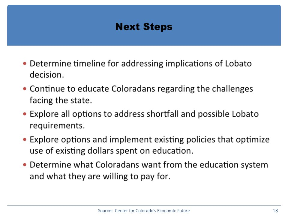 Next Steps 18 Source: Center for Colorado's Economic Future