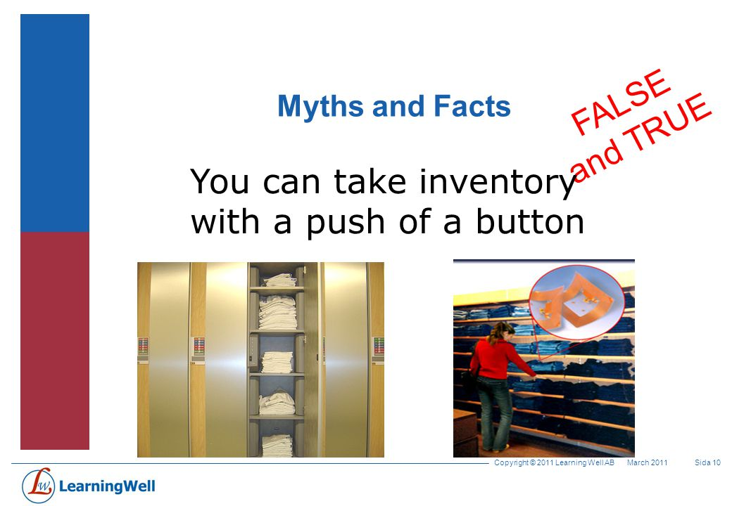 Copyright © 2011 Learning Well AB Sida 9March 2011 Myths and Facts FALSE RFID is primarily a supply chain technology