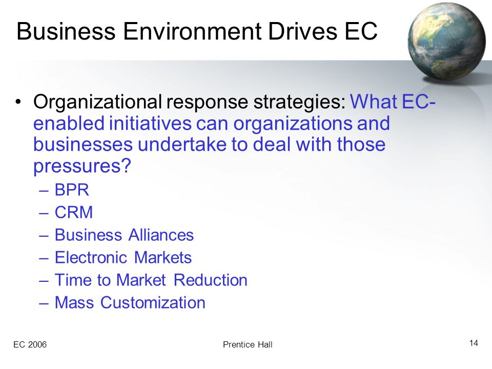 EC 2006Prentice Hall 14 Business Environment Drives EC Organizational response strategies: What EC- enabled initiatives can organizations and businesses undertake to deal with those pressures.