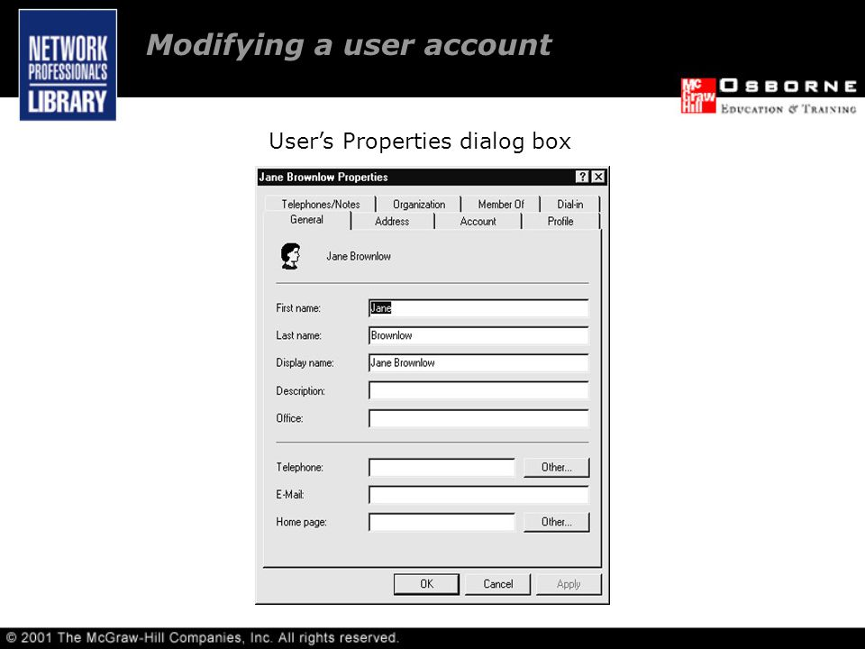 User's Properties dialog box