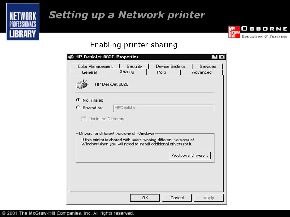 Setting up a Network printer Enabling printer sharing