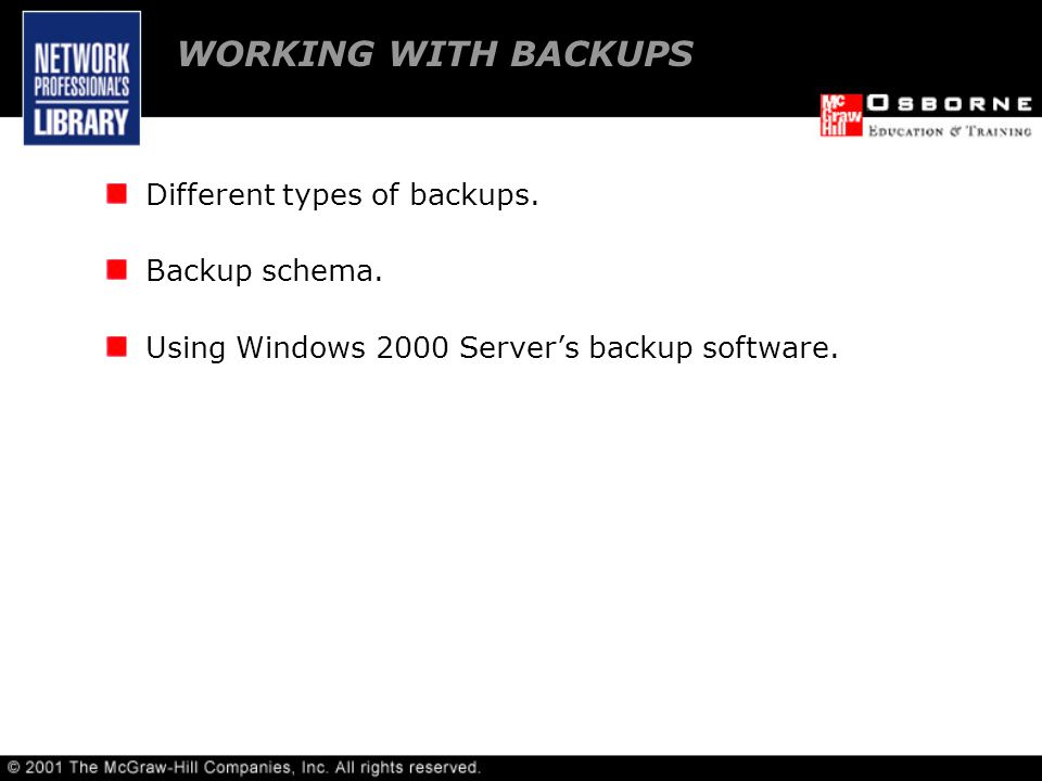 WORKING WITH BACKUPS Different types of backups. Backup schema.