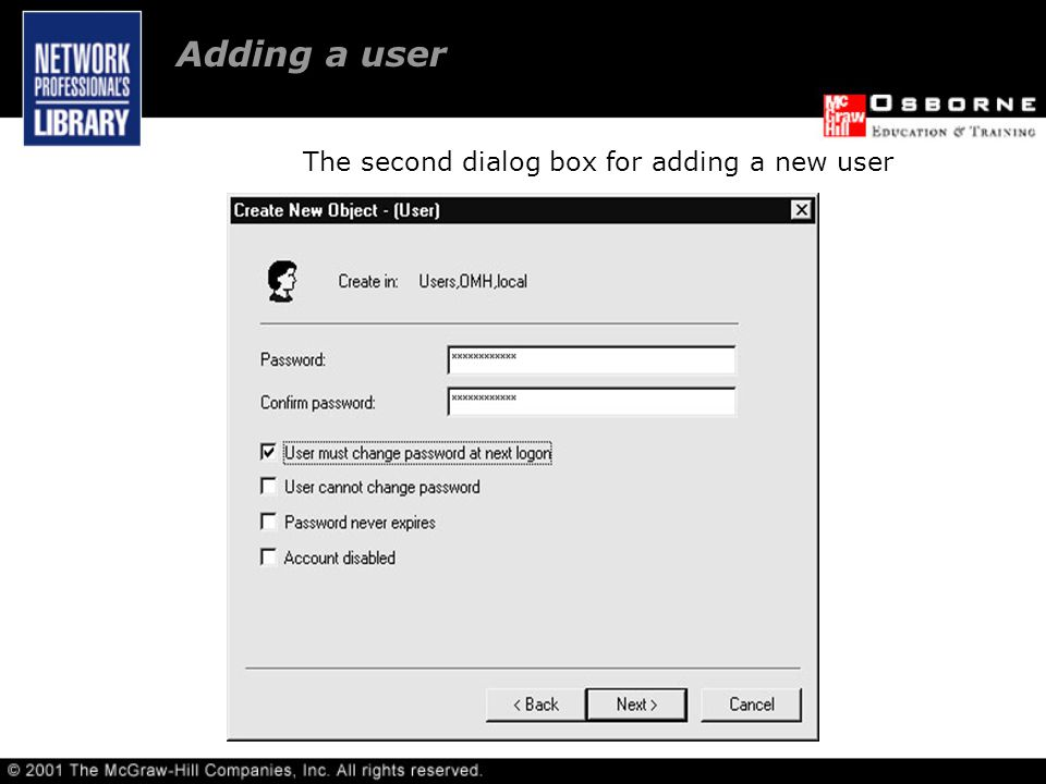 The second dialog box for adding a new user