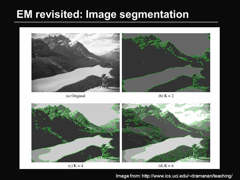 EM revisited: Image segmentation Image from: http://www.ics.uci.edu/~dramanan/teaching/