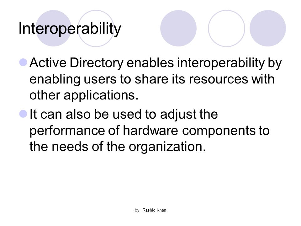 by Rashid Khan Interoperability Active Directory enables interoperability by enabling users to share its resources with other applications.