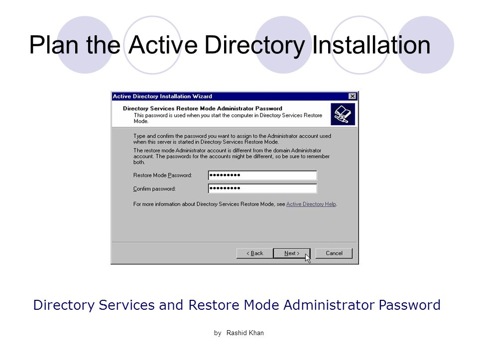 by Rashid Khan Plan the Active Directory Installation Directory Services and Restore Mode Administrator Password
