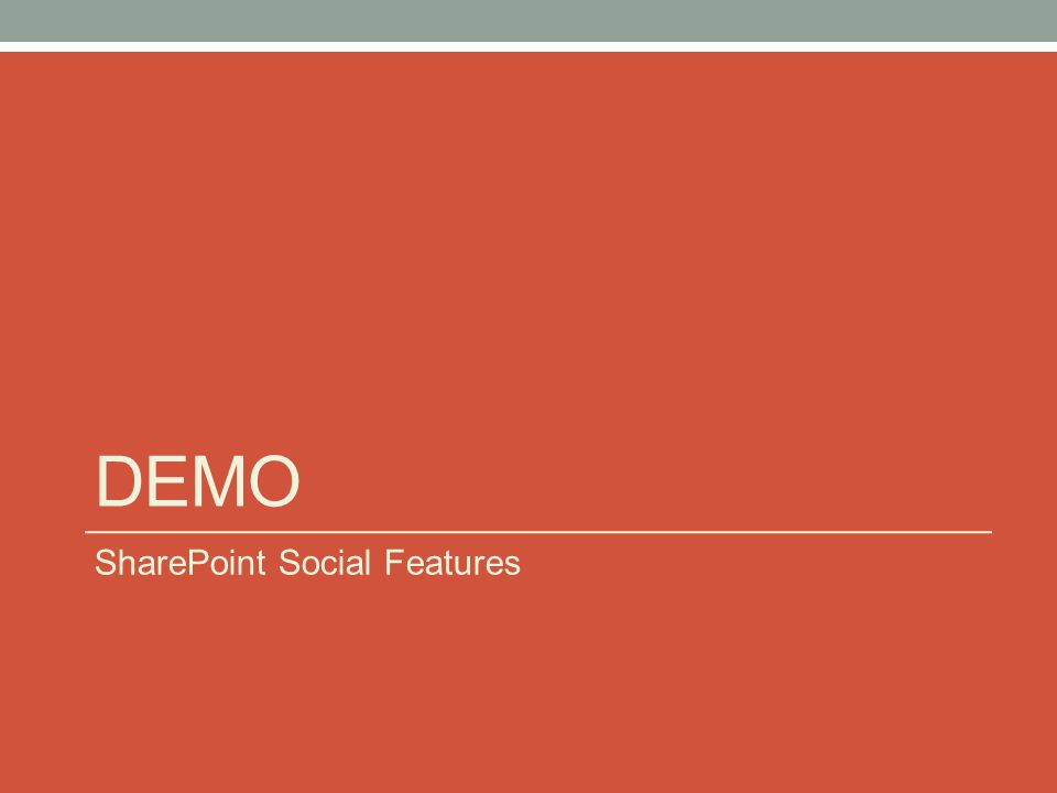 DEMO SharePoint Social Features