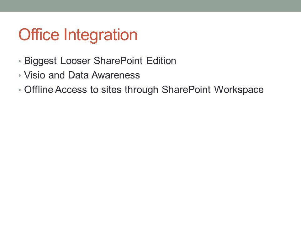 Office Integration Biggest Looser SharePoint Edition Visio and Data Awareness Offline Access to sites through SharePoint Workspace