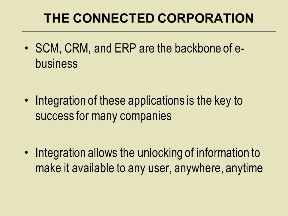 THE CONNECTED CORPORATION SCM, CRM, and ERP are the backbone of e- business Integration of these applications is the key to success for many companies Integration allows the unlocking of information to make it available to any user, anywhere, anytime
