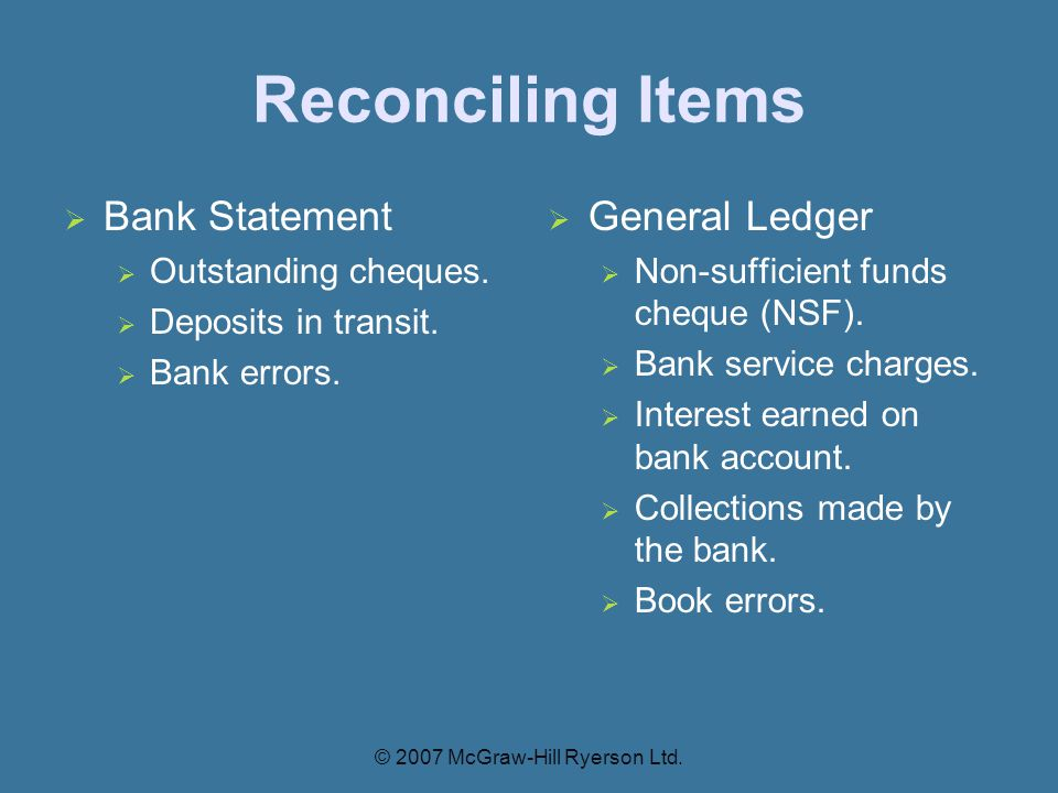 Reconciling Items  Bank Statement  Outstanding cheques.