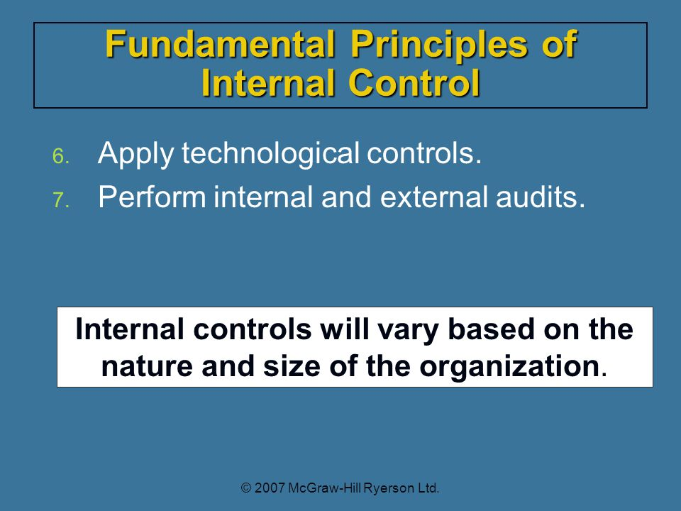 6. Apply technological controls. 7. Perform internal and external audits.