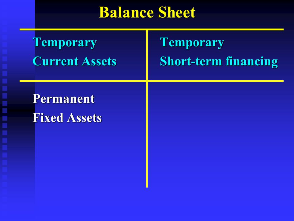 Balance Sheet Temporary Temporary Current Assets Short-term financing Permanent Fixed Assets