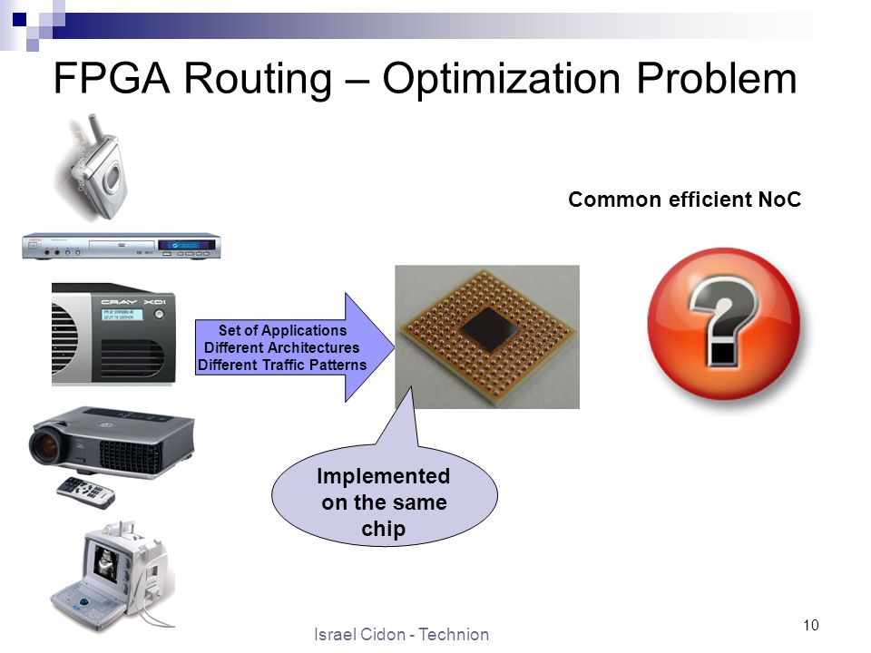 Israel Cidon - Technion 10 FPGA Routing – Optimization Problem Set of Applications Different Architectures Different Traffic Patterns Implemented on the same chip Common efficient NoC