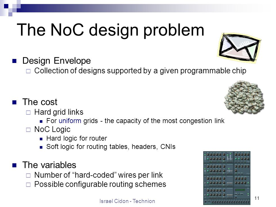 Israel Cidon - Technion 11 The NoC design problem The cost  Hard grid links For uniform grids - the capacity of the most congestion link  NoC Logic Hard logic for router Soft logic for routing tables, headers, CNIs Design Envelope  Collection of designs supported by a given programmable chip The variables  Number of hard-coded wires per link  Possible configurable routing schemes