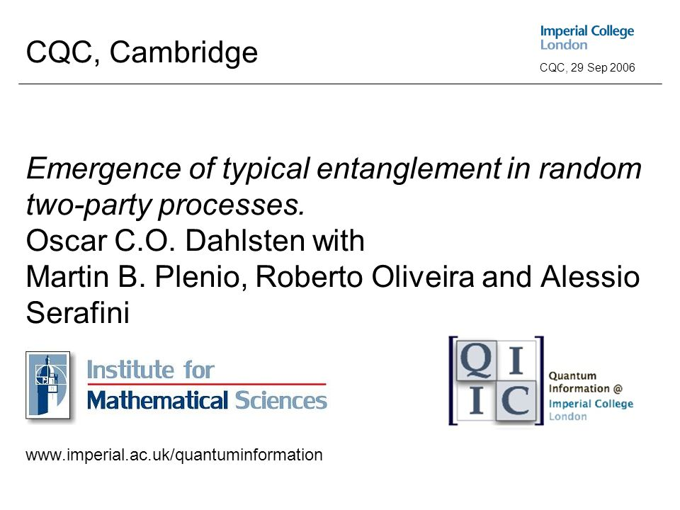 Abstract typical entanglement Emergence of typical entanglement ConclusionIntroduction CQC, 29 Sep 2006 CQC, Cambridge Emergence of typical entanglement in random two-party processes.