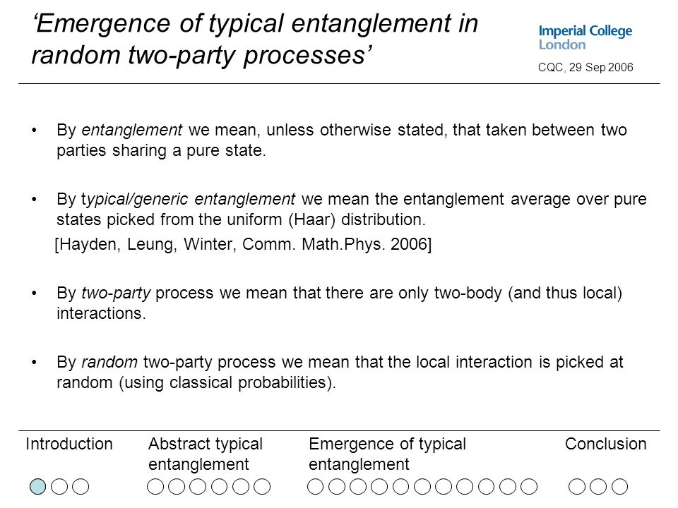 Abstract typical entanglement Emergence of typical entanglement ConclusionIntroduction CQC, 29 Sep 2006 'Emergence of typical entanglement in random two-party processes' By entanglement we mean, unless otherwise stated, that taken between two parties sharing a pure state.