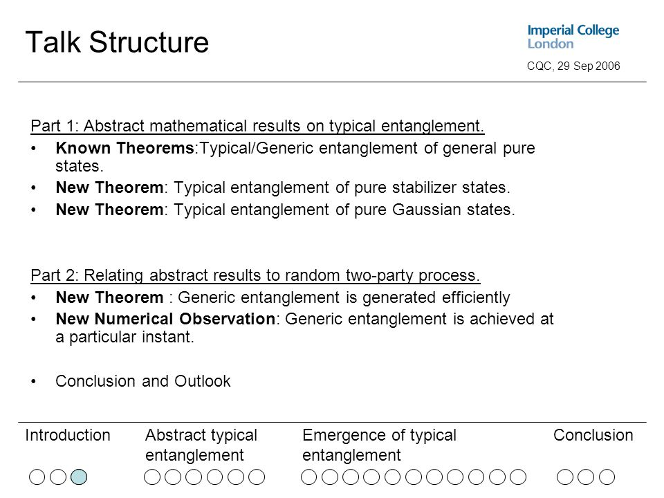 Abstract typical entanglement Emergence of typical entanglement ConclusionIntroduction CQC, 29 Sep 2006 Talk Structure Part 1: Abstract mathematical results on typical entanglement.