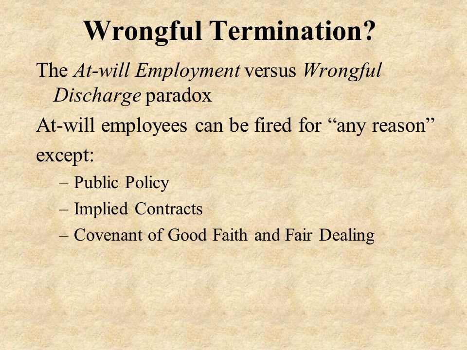 Wrongful Termination.