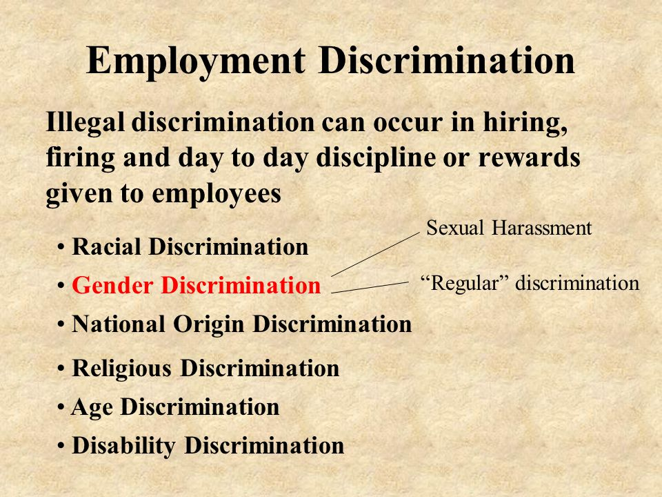 Employment Discrimination Illegal discrimination can occur in hiring, firing and day to day discipline or rewards given to employees Gender Discrimination Racial Discrimination National Origin Discrimination Religious Discrimination Age Discrimination Disability Discrimination Sexual Harassment Regular discrimination