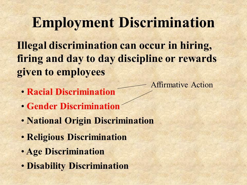 Employment Discrimination Illegal discrimination can occur in hiring, firing and day to day discipline or rewards given to employees Gender Discrimination Racial Discrimination National Origin Discrimination Religious Discrimination Age Discrimination Disability Discrimination Affirmative Action