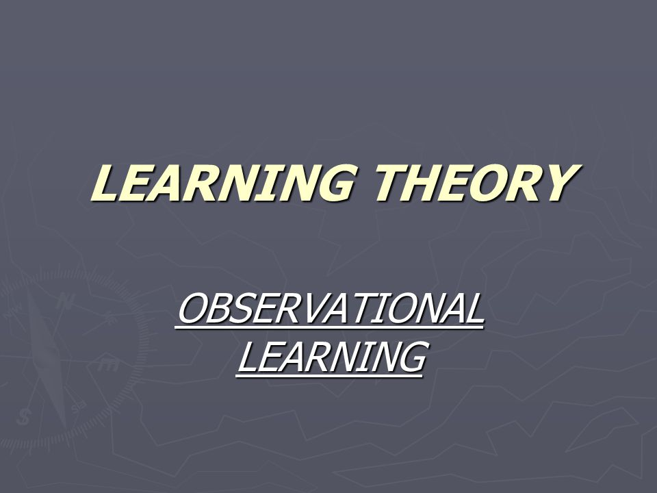 LEARNING THEORY OBSERVATIONAL LEARNING
