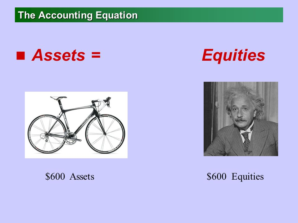 The Accounting Equation n Assets = Equities $600 Assets$600 Equities