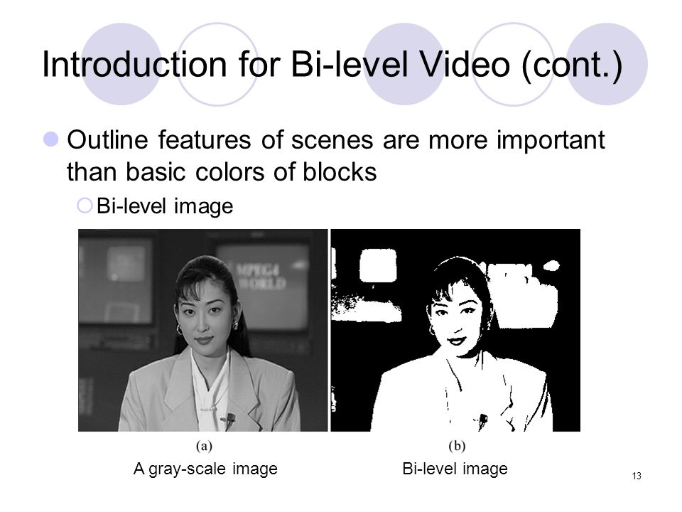 13 Introduction for Bi-level Video (cont.) Outline features of scenes are more important than basic colors of blocks  Bi-level image A gray-scale imageBi-level image