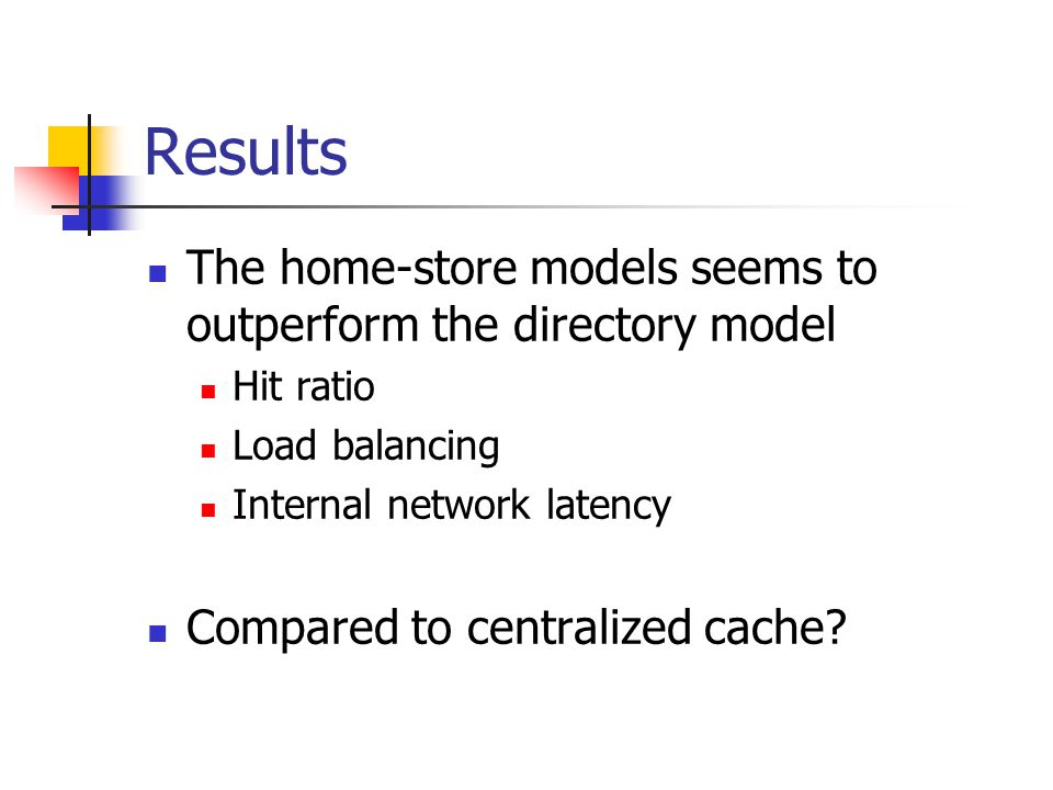 Results The home-store models seems to outperform the directory model Hit ratio Load balancing Internal network latency Compared to centralized cache
