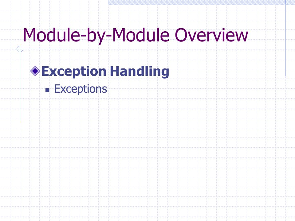 Module-by-Module Overview Exception Handling Exceptions