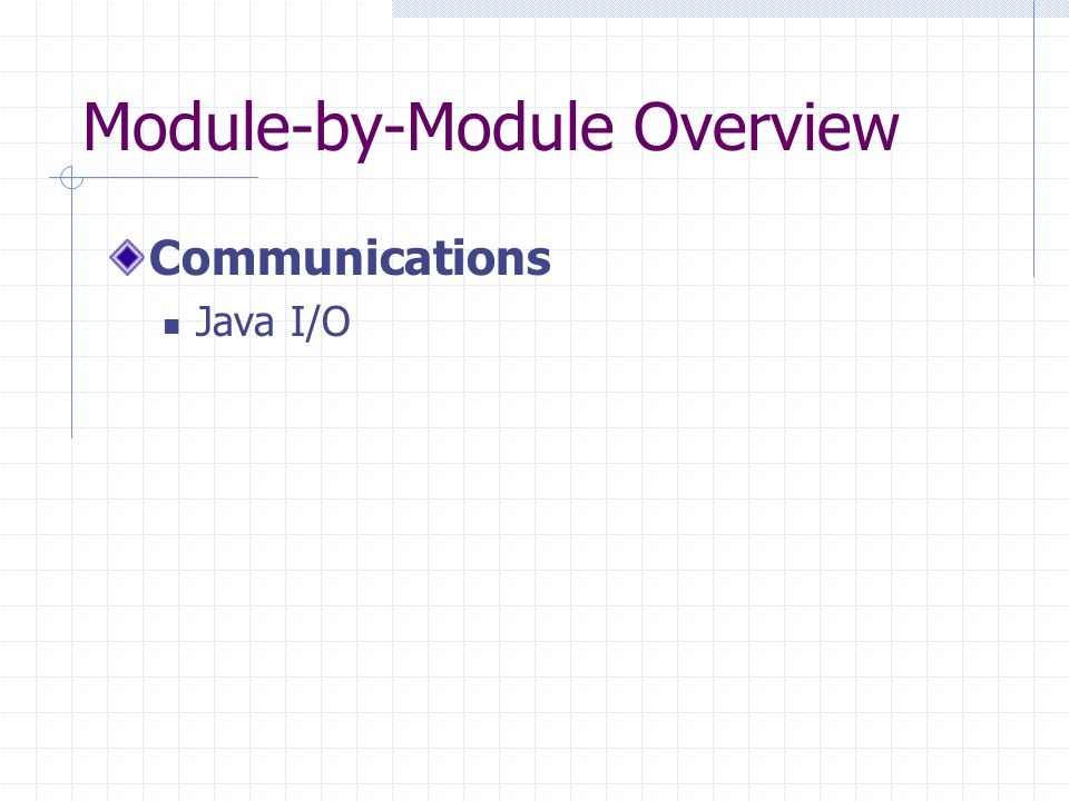 Module-by-Module Overview Communications Java I/O