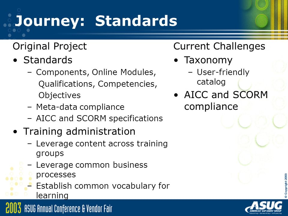 Journey: Standards Original Project Standards –Components, Online Modules, Qualifications, Competencies, Objectives –Meta-data compliance –AICC and SCORM specifications Training administration –Leverage content across training groups –Leverage common business processes –Establish common vocabulary for learning Current Challenges Taxonomy –User-friendly catalog AICC and SCORM compliance