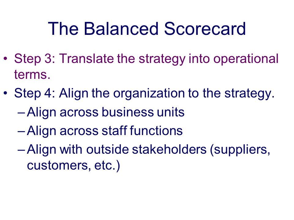 The Balanced Scorecard Step 3: Translate the strategy into operational terms.